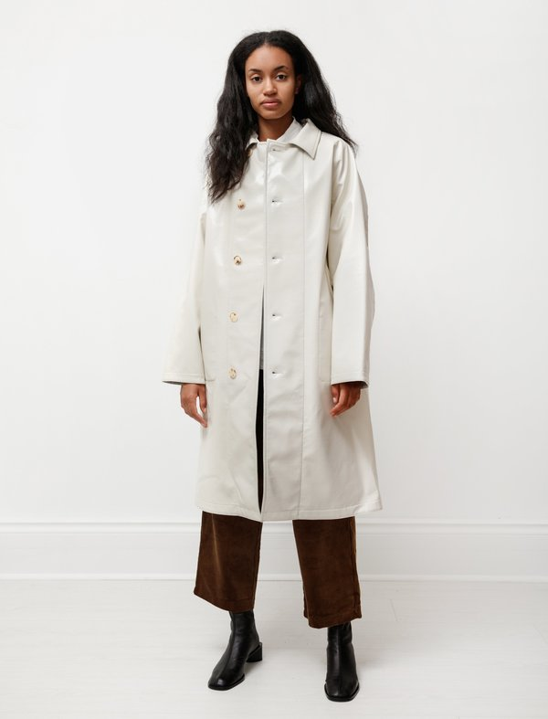 Auralee Wool Cashmere Laminate Coat - Ivory Top Gray