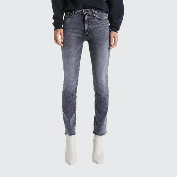 Mother Denim High Waisted Rascal Ankle Snippet Jeans - Train Stops