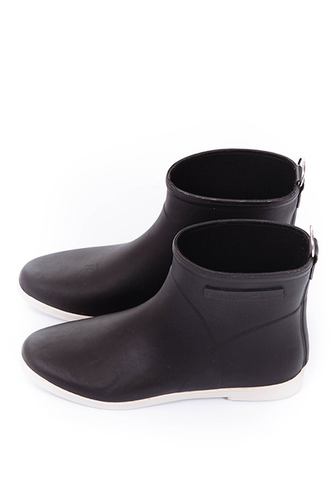 Alice + Whittles Ankle Rain Boot in Black and White