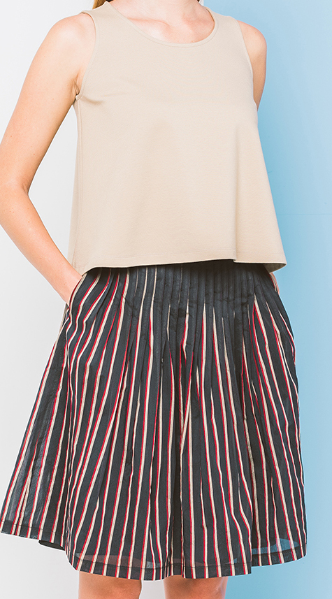 Obakki Pleated Stripe Skirt