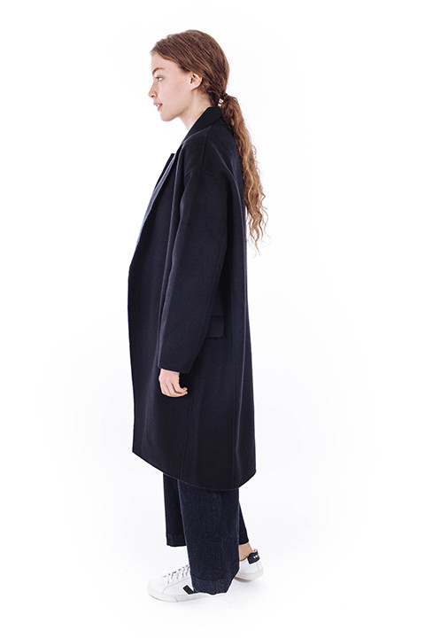 Achro Long Coat in Navy