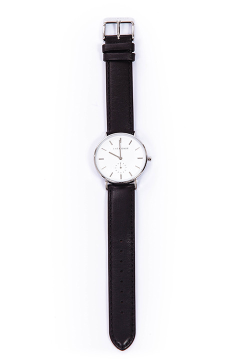 The Horse Polished Steel & Black Leather Watch