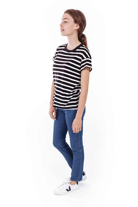 The Great The Boxy Crew in Black & White Stripe