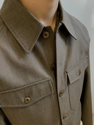 Lemaire Wool Button Military Blouson - Ocre Brown