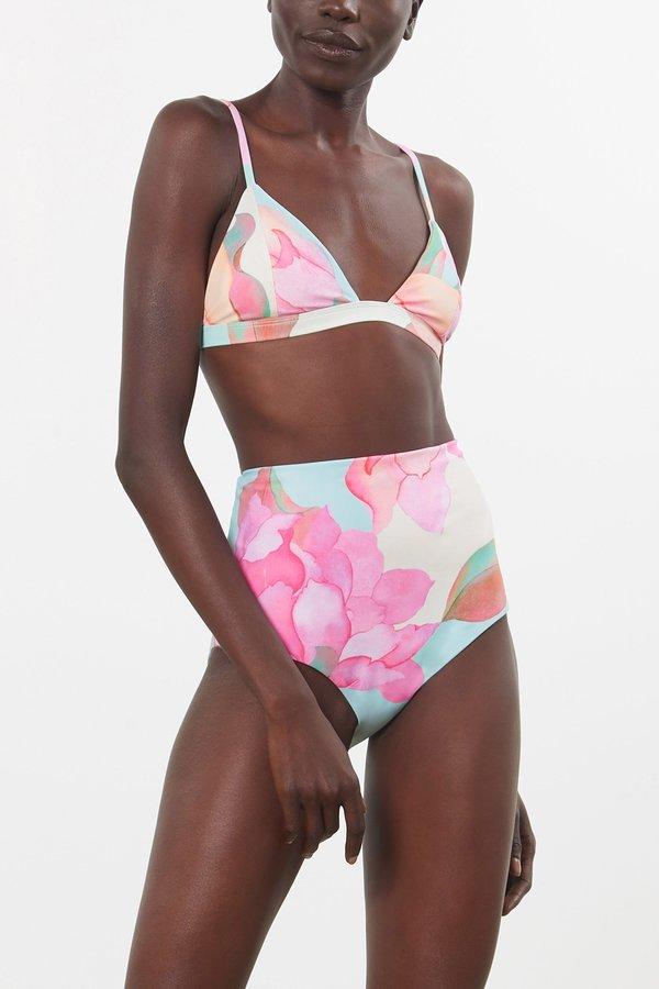 Mara Hoffman Astrid Bikini Top - Floral Watercolor