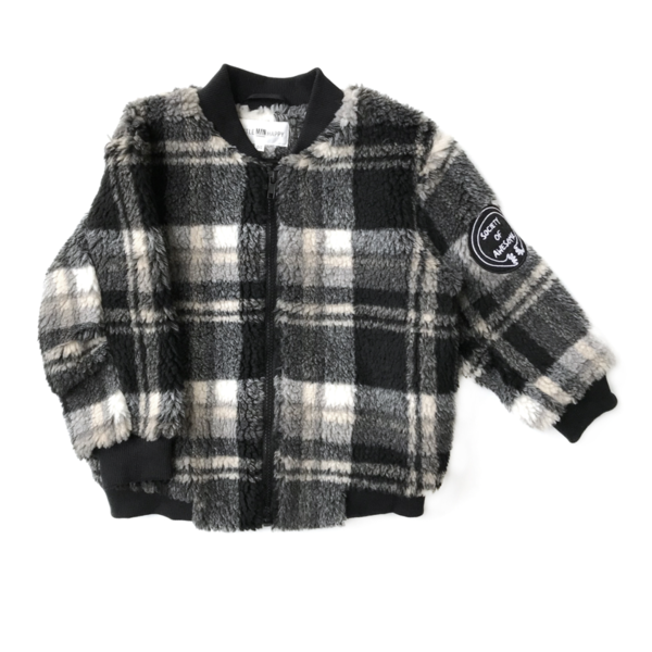 kids LITTLE MAN HAPPY Checked Teddy Bomber Jacket - Black