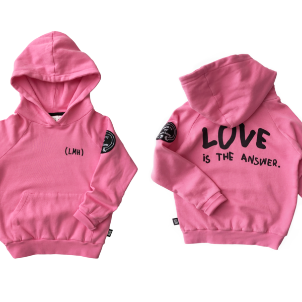 kids LITTLE MAN HAPPY Love is the Answer Hoodie - Cotton Candy