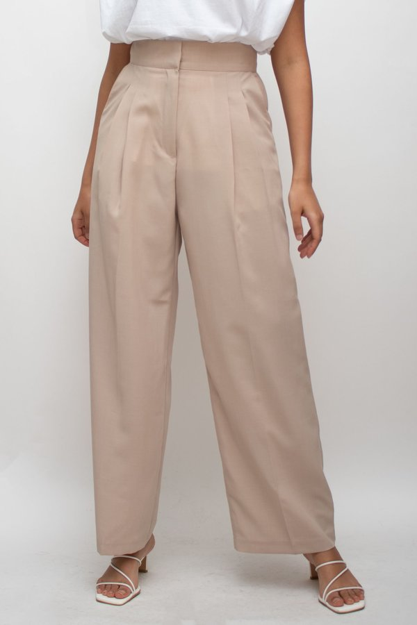 W A N T S High Waisted Wide Pants - Beige