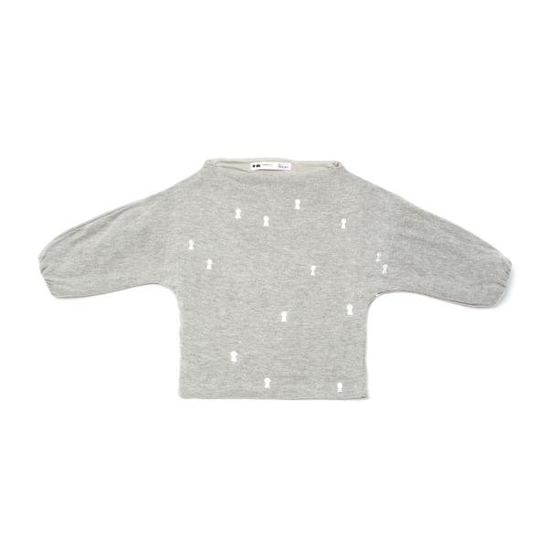 b4f4d0668 OMAMImini Grey Dolman Sleeve Sweater with Keyhole Print