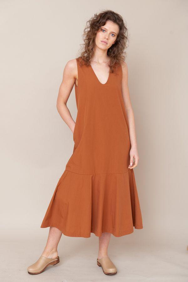 beaumont organic madelyn organic cotton dress - COFFEE