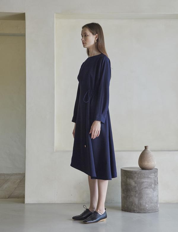 Maison De Ines Unbalanced String Dress - Navy