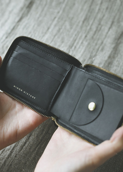 Minor History Coupe Small Zip Wallet in Oiled Black, Kelly or Indigo