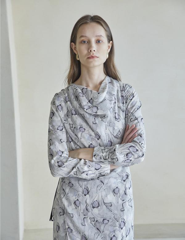 Maison De Ines SHOULDER BUTTON DRAPED DRESS - GRAY