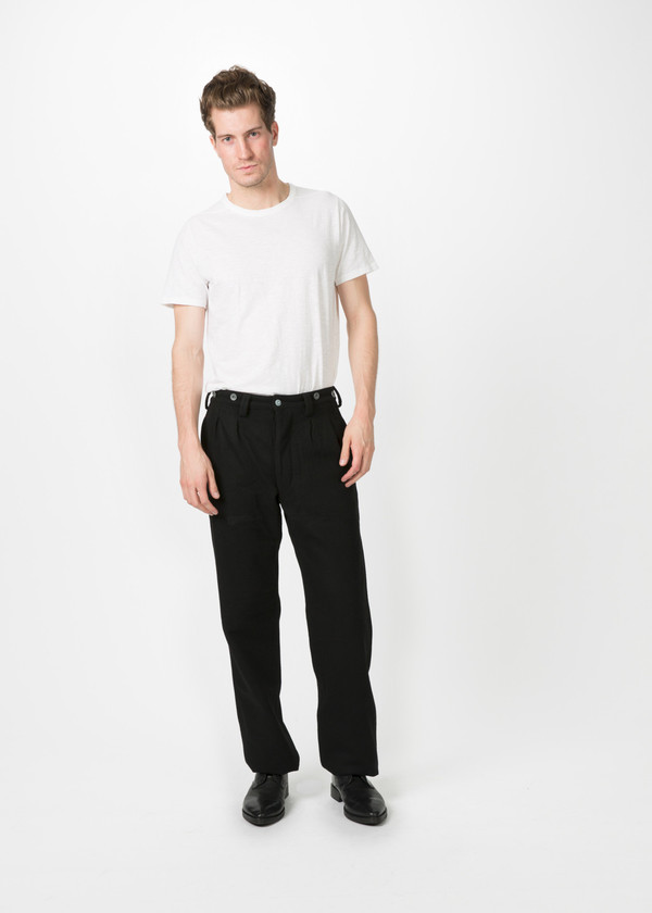 72fc7dbb6df7 Nigel Cabourn Pleated Wool Chino - BLACK
