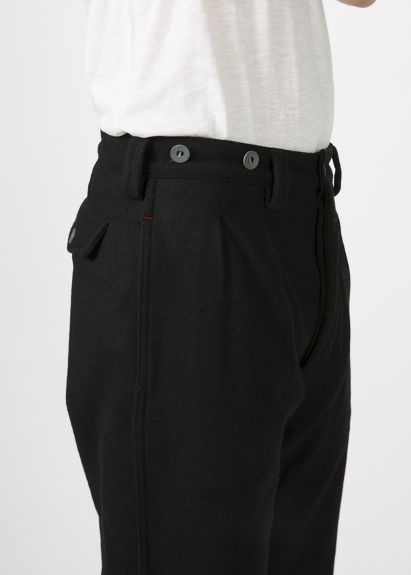 Nigel Cabourn Pleated Wool Chino - BLACK