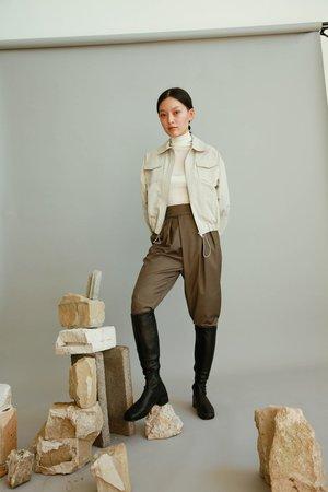 JOWA. Londonflat Wrap Pleat Front Trousers - Khaki