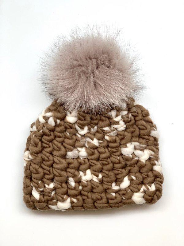 kids Mischa Lampert bambi beanie melange + taupe xl pom hat
