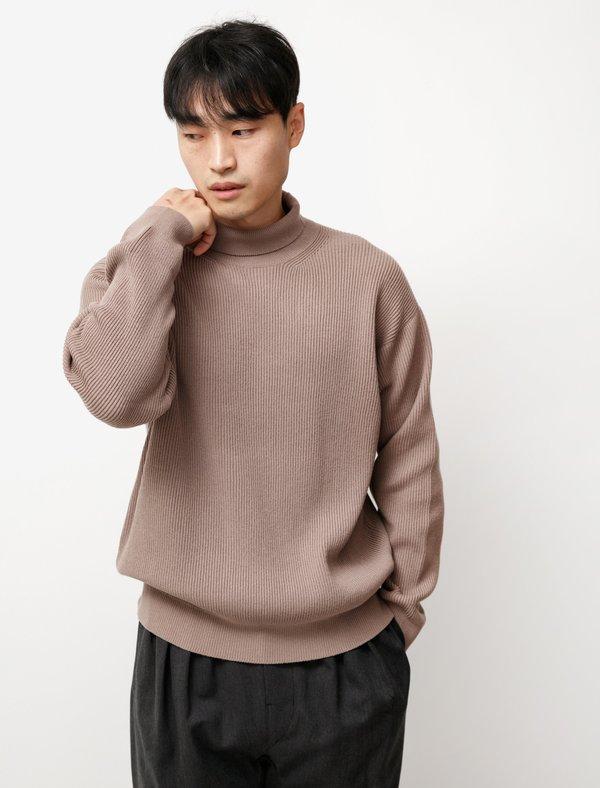 Auralee Super Fine Wool Rib Knit Turtleneck - Brown
