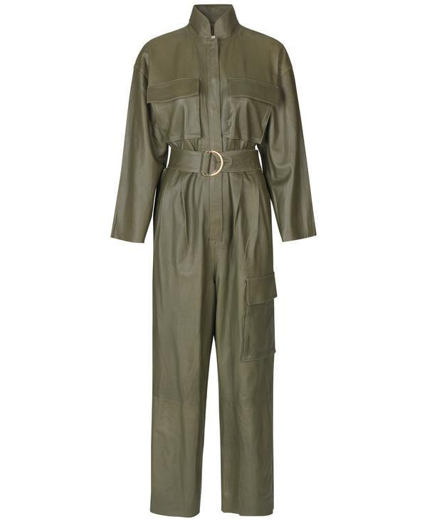 Note Du NOrd Rose Leather Jumpsuit - Dark olive