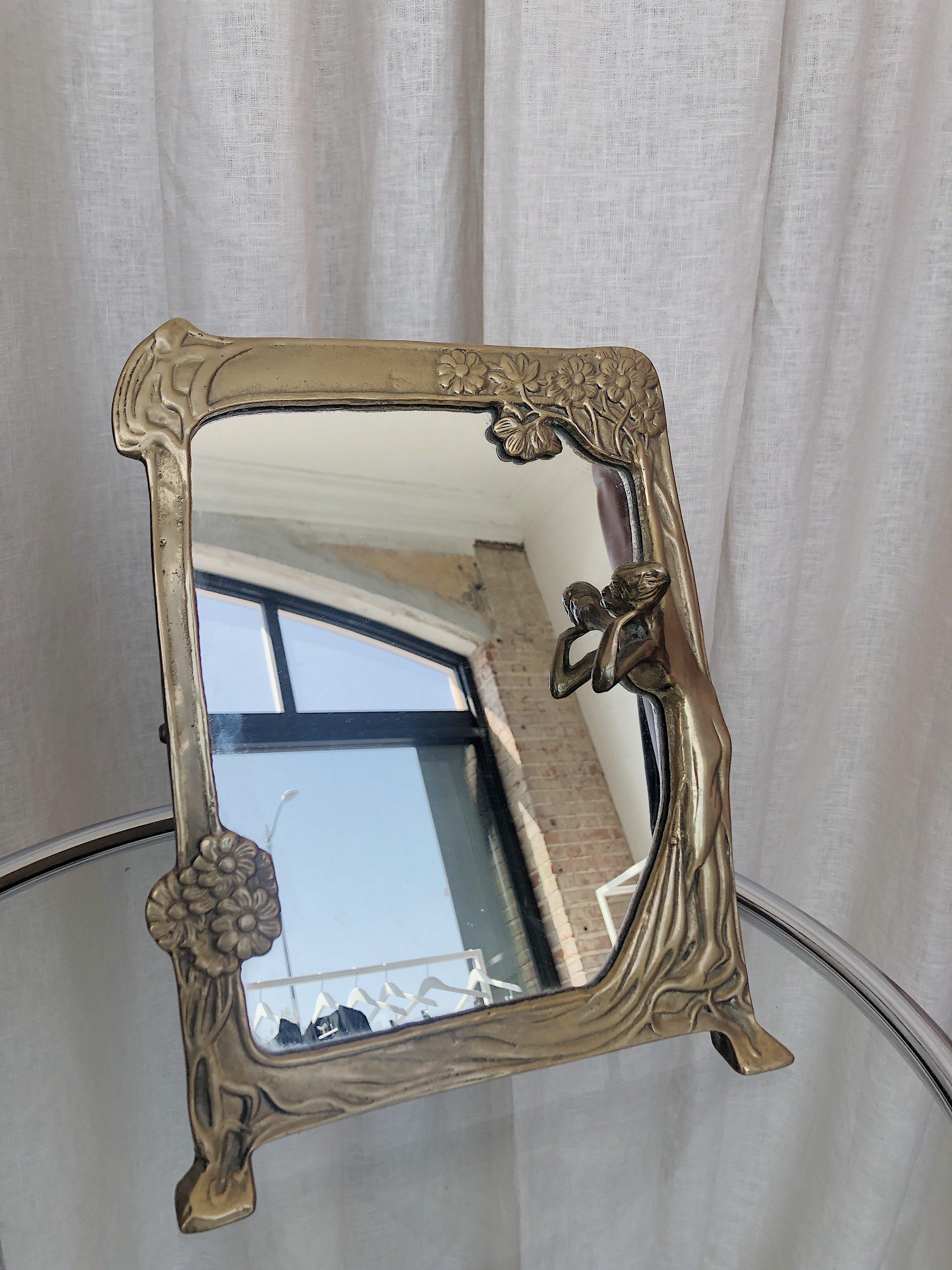 Ri Ri Ku Vintage Deco Vanity Mirror Brass Garmentory