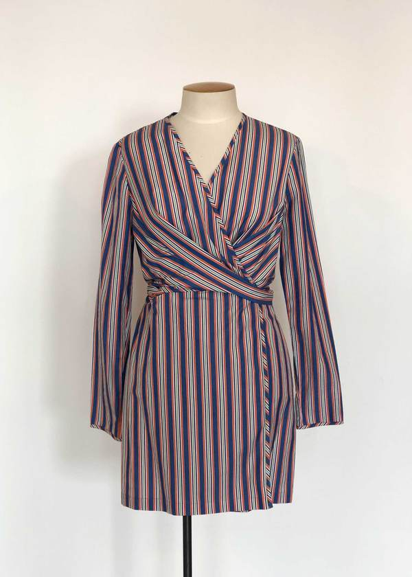 Not specified Darcy Dress (Blue & Orange Stripe Sample)