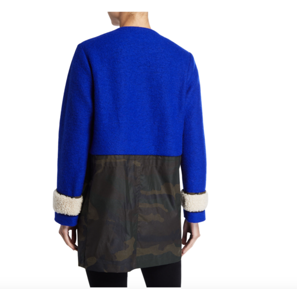 Harvey Faircloth Ragian Surplus Coat - cobalt/camo