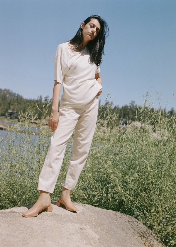 Ozma Silk Noil Jersey Oversize Tee - Natural