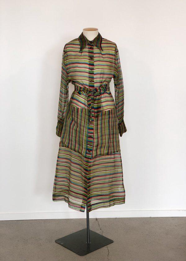 Penny Sage Novella shirt dress - rainbow organza
