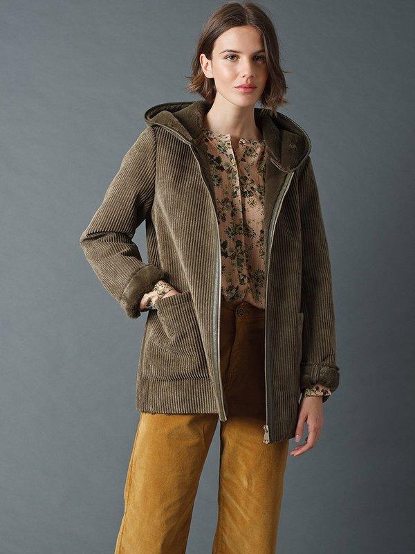Indi & Cold Hooded Fur Coat - Khaki