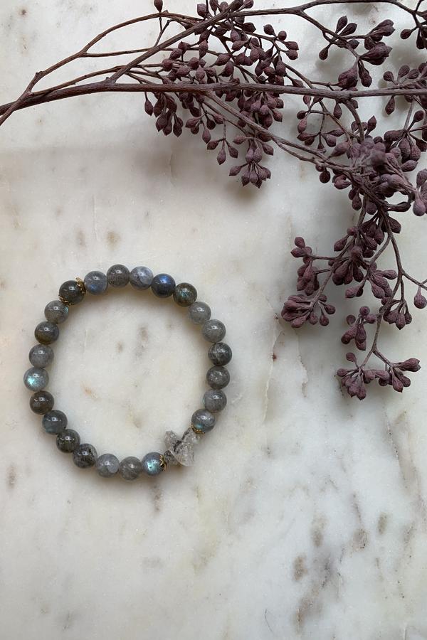 Filosophy Labradorite with Rough Cut Herkimer Diamond Bracelet - Brass