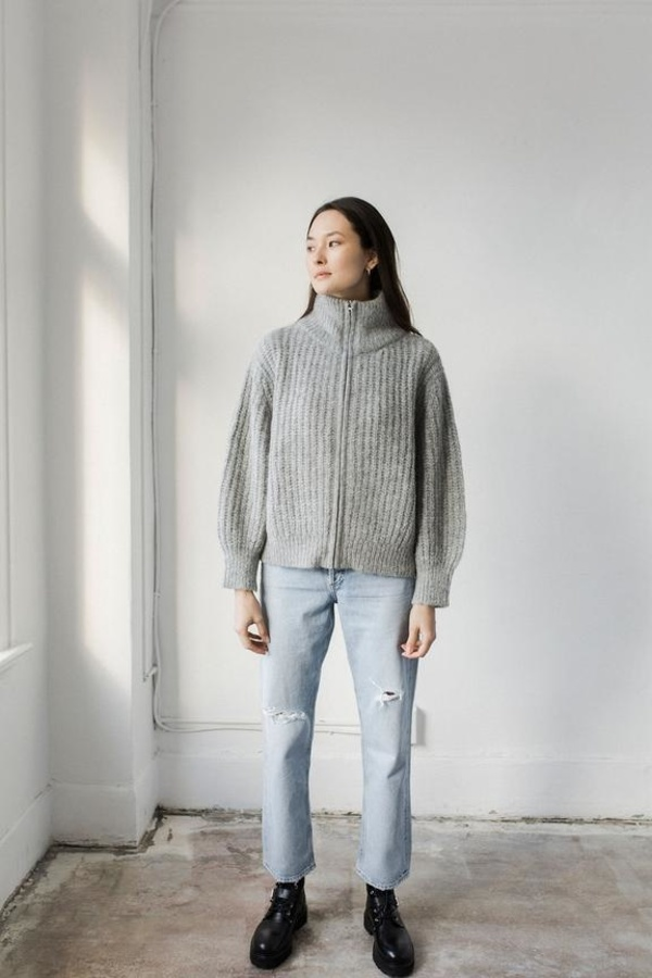Bare Knitwear Nazca Alpaca Knit Zip Up Jacket - Cloud Grey