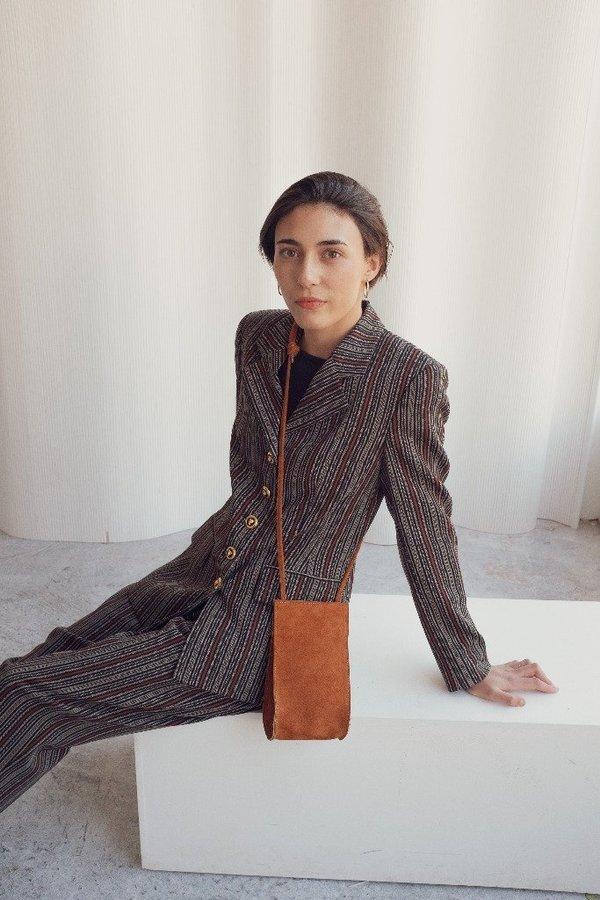 Hannah Emile Droplet Crossbody Bag - Toast Suede