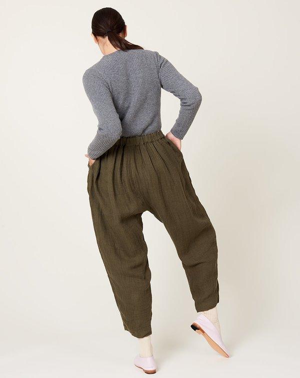 ICHI ANTIQUITES Azumadaki Linen Pants - Olive