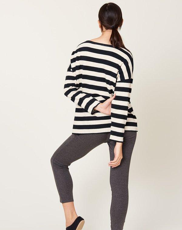 ICHI ANTIQUITES Border Pullover - Natural Black Stripe