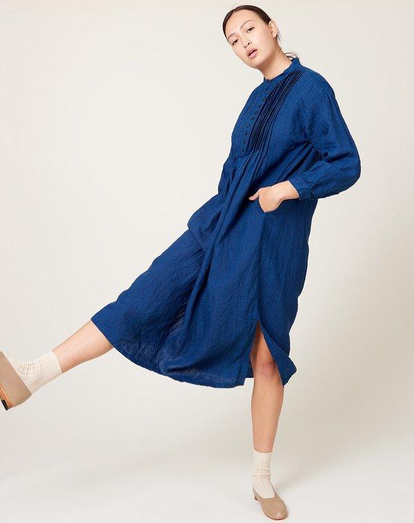 ICHI ANTIQUITES Linen Stripe Dress - Indigo