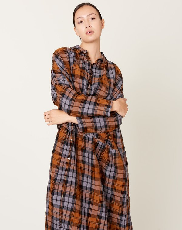 ICHI ANTIQUITES Linen Tartan Check Dress - Grey