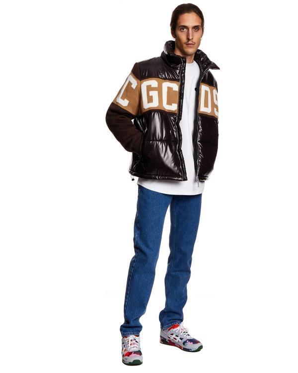GCDS Down Jacket with Print - Black