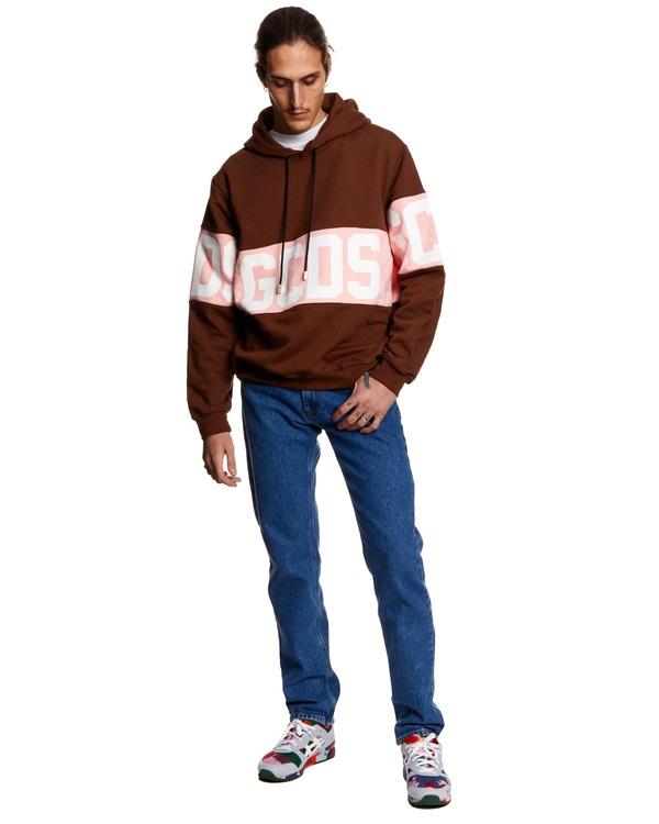 GCDS Logo Sweatshirt with Hood - Brown/Pink