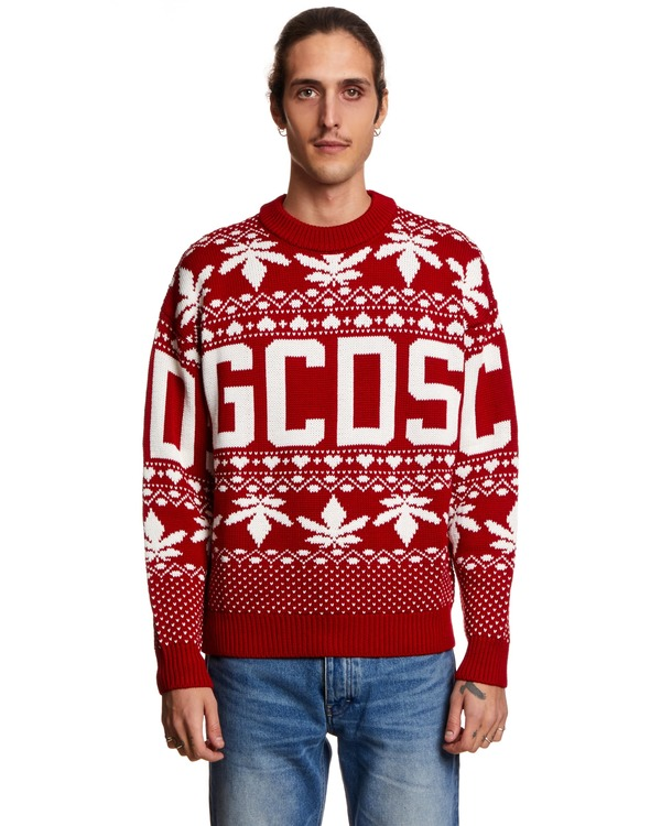 GCDS Sweater with Embroidery - Red