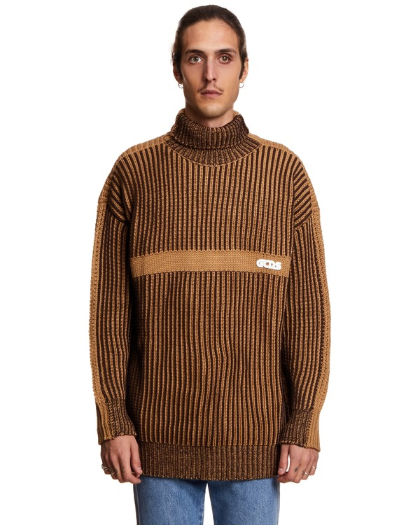 GCDS Ribbed Sweater with Logo - Brown