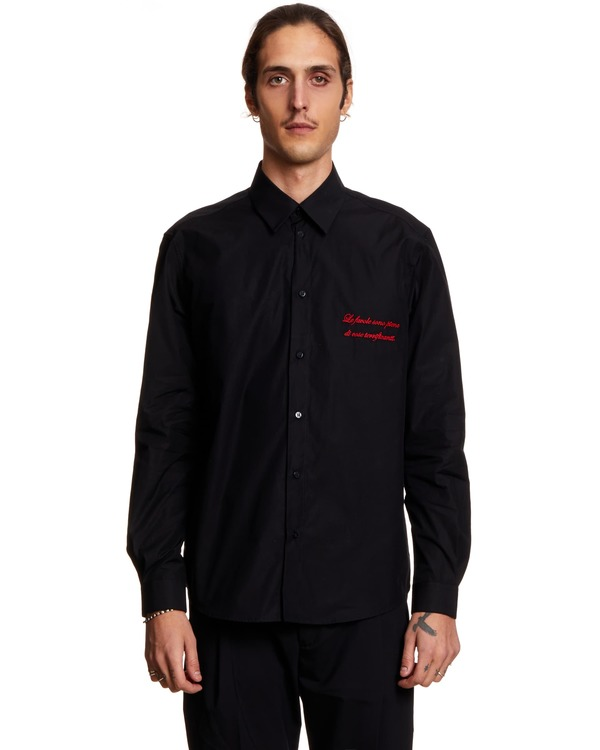 MSGM Shirt with Embroidery - black