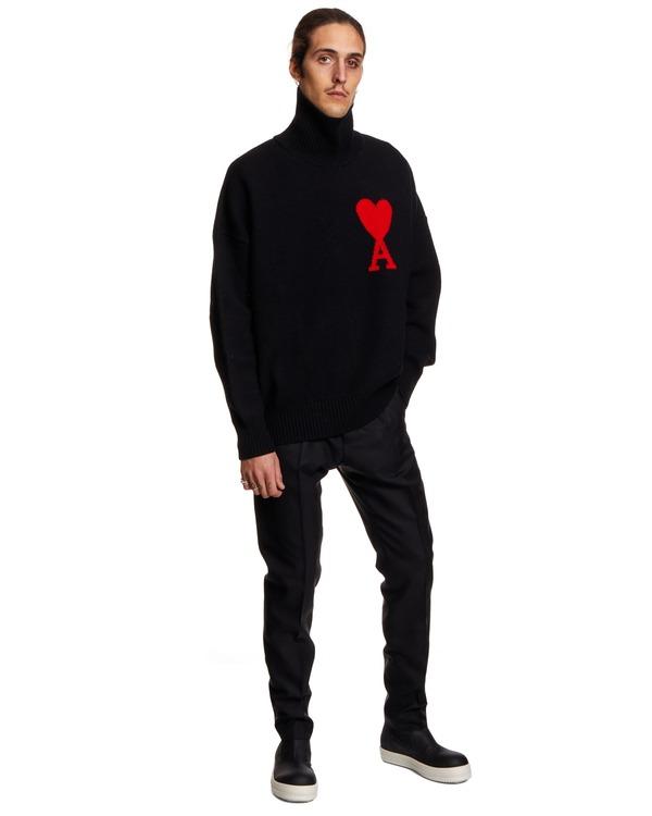 Ami Paris Turtleneck Sweater - black