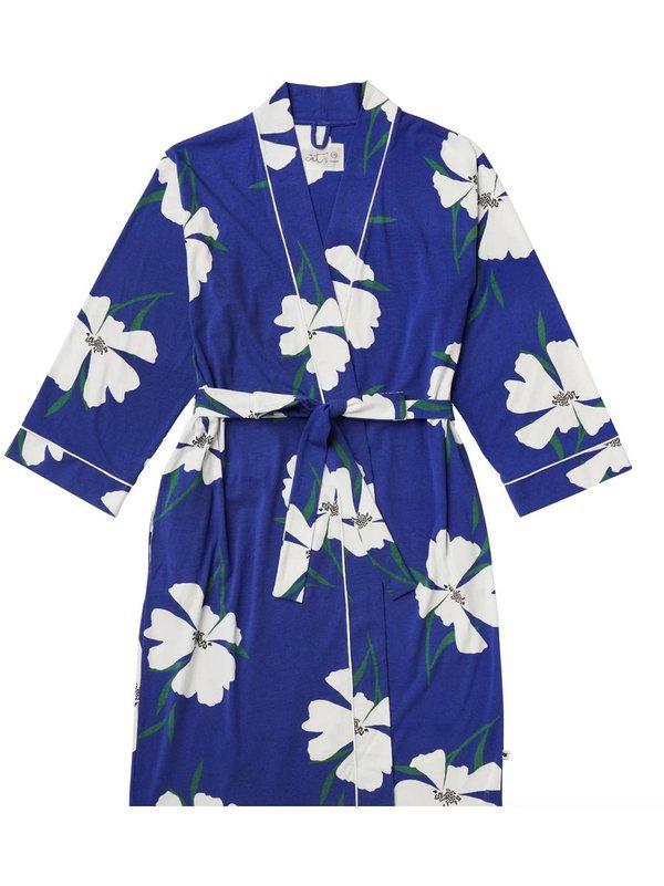 The Cat's Pajamas Pima Knit Robe - Icelandic Blue Poppy