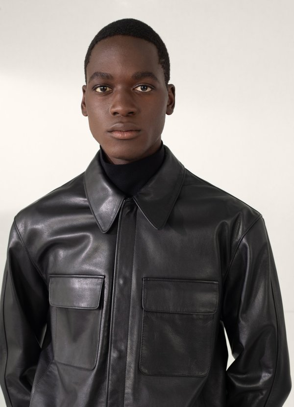 Lemaire Cowhide Large Collar Leather Blouson - Black