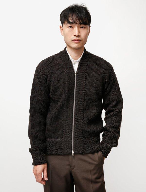 Lemaire Zip Roll Neck Sweater - Dark Brown