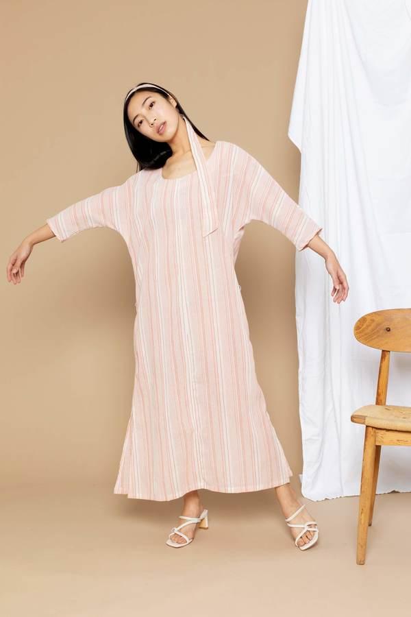 Conrado Nova Boatneck Midi Dress - Orange Stripe