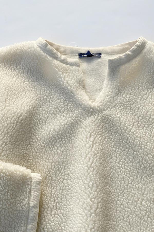 soeur Glacier Fuzzy Sherpa Pullover - Ecru