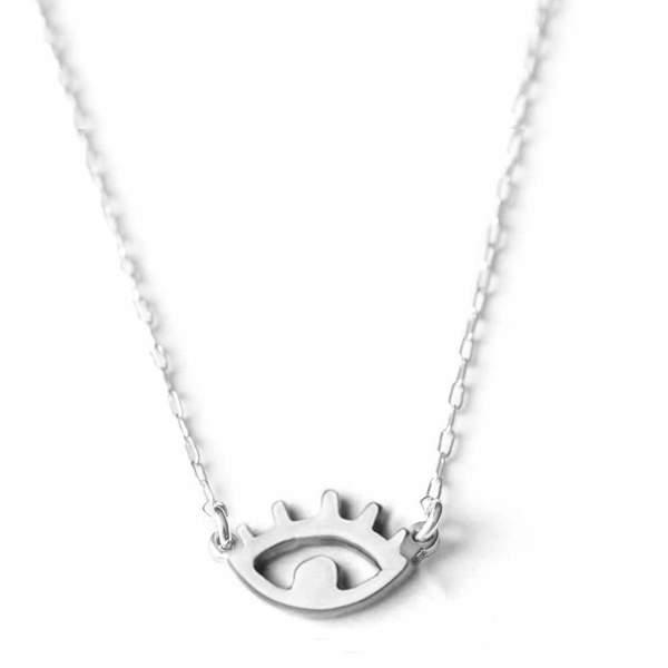 Upper Metal Class Eye Necklace - Sterling Silver