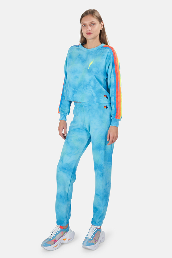 Aviator Nation 5 Stripe Sweatpants - Tie Dye Blue / Neon Rainbow