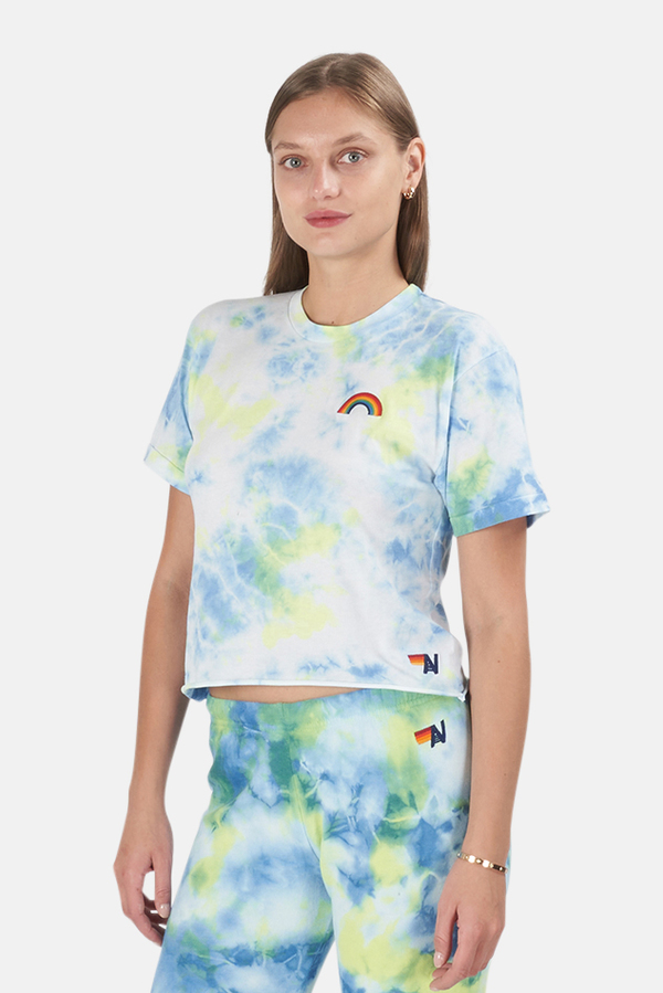 Aviator Nation Rainbow Embroidery Boyfriend T-Shirt - Tie Dye Neon Yellow